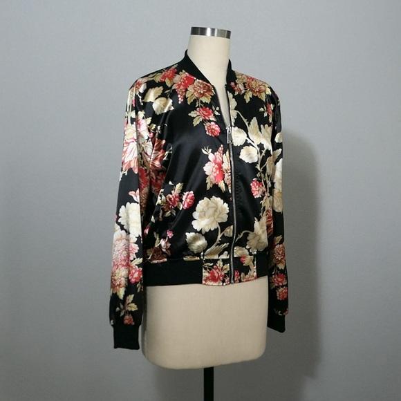 65063de6437d Jackets   Blazers - Women s Silk Floral Flower Zip Up Bomber Jacket